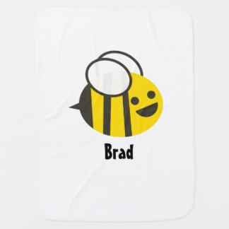 あなたの子供の名前のカスタムなベビーの蜂毛布 ベビー ブランケット