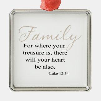 あなたの宝物が家族の引用文どこにのためであるか メタルオーナメント