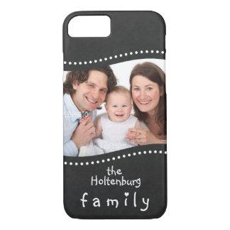 あなたの家族写真および名前の黒板 iPhone 8/7ケース