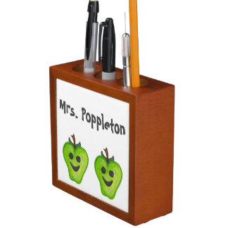 あなたの幸せなりんごの先生の机のオルガナイザーをカスタマイズ ペンスタンド