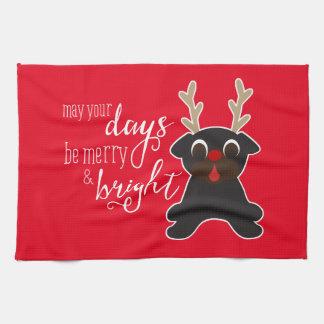 あなたの幾日のメリークリスマスのパグのトナカイタオルはよろしいです キッチンタオル