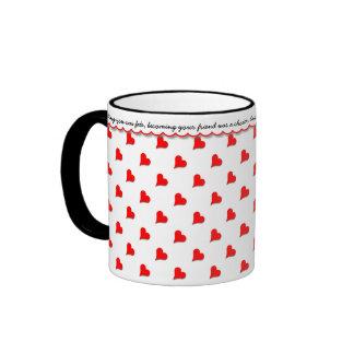 あなたの愛、赤いハート、愛情のあるメッセージを宣言して下さい リンガーマグカップ