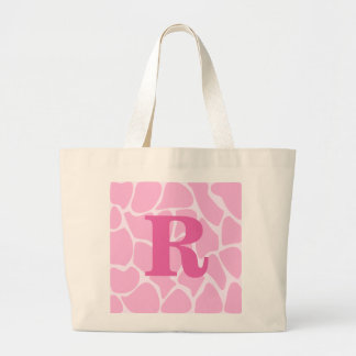 あなたの手紙のモノグラム。 カスタム。 ピンクのキリンパターン ラージトートバッグ