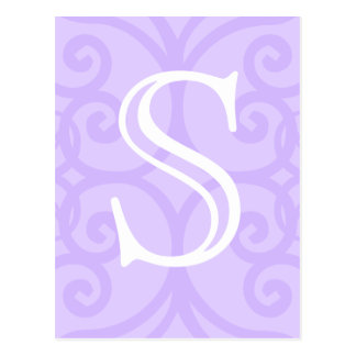 あなたの手紙。 カスタム。 薄紫の紫色の渦巻のモノグラム ポストカード
