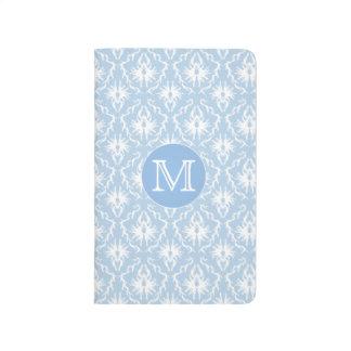あなたの手紙、モノグラム。 淡いブルーのダマスク織パターン ポケットジャーナル