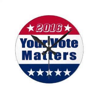 あなたの投票は選挙2016年 の重要です ラウンド壁時計