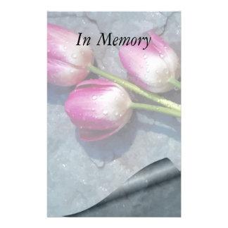 あなたの損失のピンクのチューリップのために残念 便箋