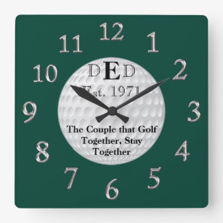 あなたの文字が付いている結婚記念日のゴルフ時計 スクエア壁時計
