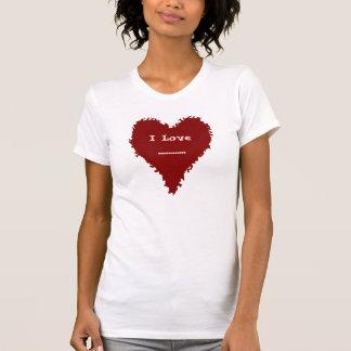 あなたの文字のための赤い女性Tシャツのかわいい赤いハート Tシャツ
