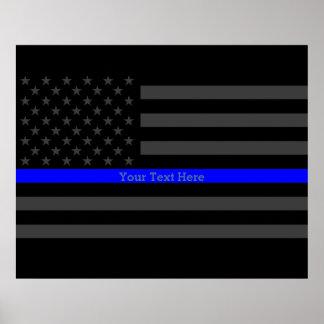 あなたの文字の薄いブルーラインスタイリッシュな木炭米国の旗 ポスター
