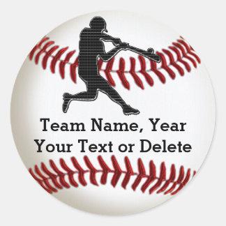 あなたの文字または削除の野球チームのステッカー 丸形シール・ステッカー
