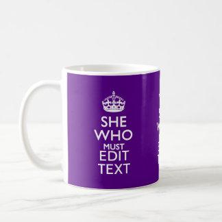 あなたの文字従われた紫色のアクセントでなければならない彼女 コーヒーマグカップ