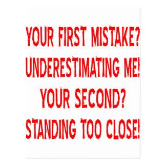 あなたの最初間違いか。 私の過少見積り! ポストカード