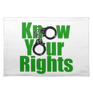 あなたの権利を-警察国家か刑務所または麻薬戦争知って下さい ランチョンマット