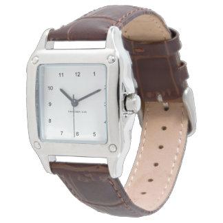 あなたの正方形のブラウンを革バンドと名前を挙げて下さい 腕時計