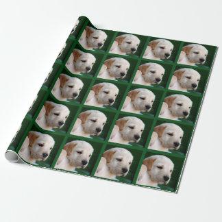 あなたの正方形の写真はイエロー・ラブラドール・レトリーバーの子犬を取り替えます ラッピングペーパー