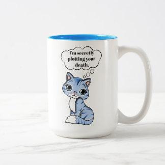 あなたの死を計画しているおもしろいな子猫猫 ツートーンマグカップ
