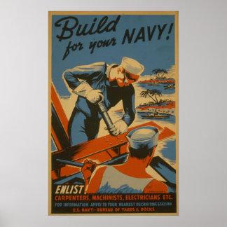 あなたの海軍のための造り! : 入隊して下さい! 大工 ポスター