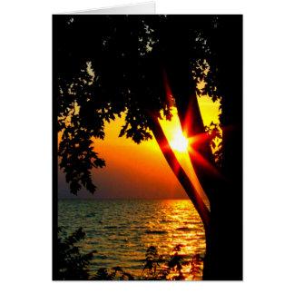 あなたの湖のWinnebagoの日没の考えること グリーティングカード