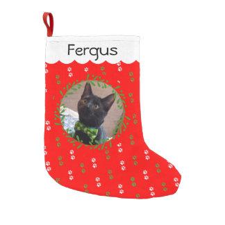 あなたの猫の写真のクリスマスのストッキングを加えて下さい スモールクリスマスストッキング