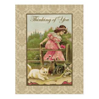 あなたの猫の考えることを用いる女の子ヴィンテージの再生 ポストカード