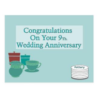 あなたの第9のお祝い。 結婚記念日 ポストカード