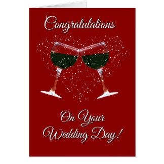 あなたの結婚式のワインおよびハートのお祝い カード