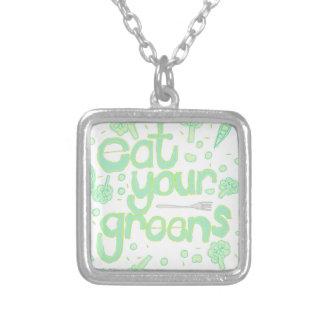 あなたの緑を食べて下さい シルバープレートネックレス