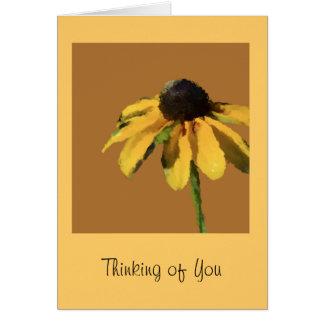 あなたの考えることヒマワリが付いている挨拶状 カード