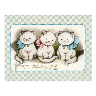 あなたの考えること3つの猫ちゃんのヴィンテージの再生 ポストカード
