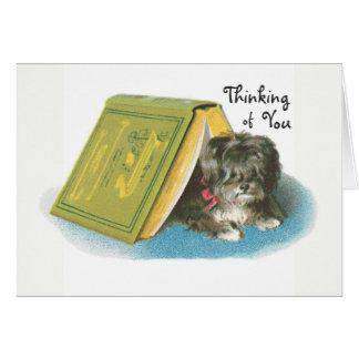 あなたの考えること-かわいいヨークシャテリアのヨークシャーテリア カード