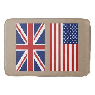 あなたの背景色のイギリス及び米国の旗 バスマット