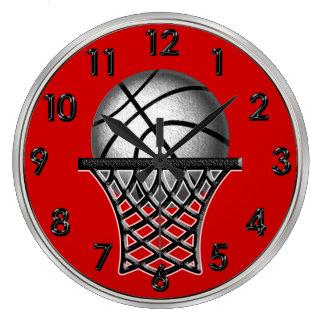 あなたの色の磨かれたバスケットボールの柱時計 ラージ壁時計