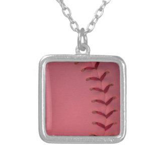 あなたの色の野球-ソフトボール--を選んで下さい シルバープレートネックレス