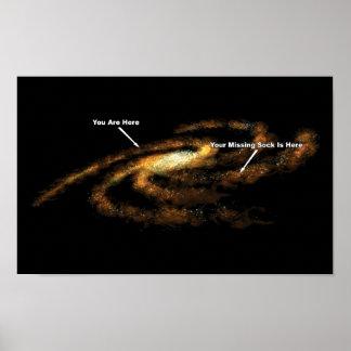 あなたの行方不明のソックスは銀河の銀河系ここにあります ポスター
