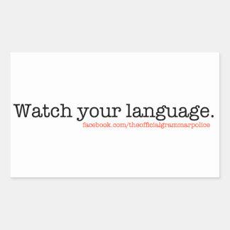 あなたの言語を見て下さい 長方形シール