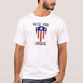 あなたの言語アメリカの盾のティーを見て下さい Tシャツ