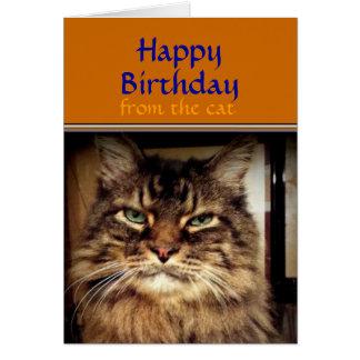 あなたの誕生日のメインのあらいぐま猫カードは微笑します カード