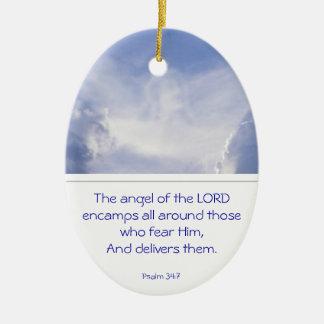 あなたの賛美歌の34:7のまわりの主のEncamps天使 セラミックオーナメント