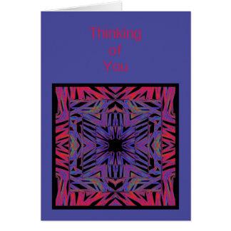 あなたの赤い青の抽象芸術の考えることカードテンプレート グリーティングカード