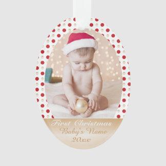 あなたの赤ん坊の最初クリスマスのカスタムな写真のmemorie オーナメント