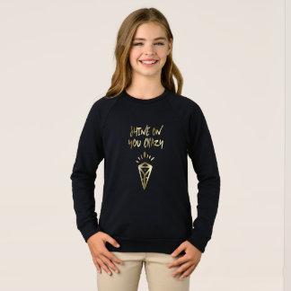 あなたの輝やき熱狂するなダイヤモンドの引用文の金ゴールドのタイポグラフィ スウェットシャツ
