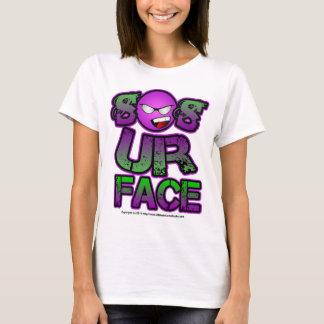 あなたの顔、にこやかな紫色の緑は従ってあります Tシャツ