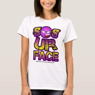 あなたの顔、にこやかな紫色の黄色い顔は従ってあります Tシャツ