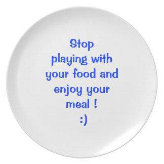 """""""あなたの食糧""""プレートによって遊ぶことを止めて下さい プレート"""