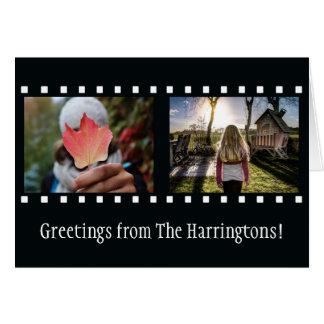 """あなたの2つの写真及び文字の""""フィルムのストリップ""""の挨拶状 カード"""