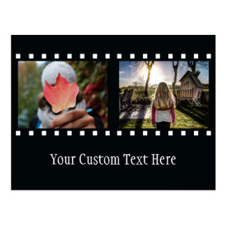 """あなたの2つの写真及び文字の""""フィルムのストリップ""""の郵便はがき ポストカード"""