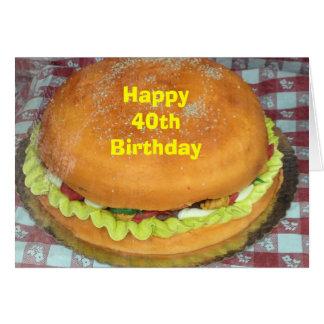 """あなたの""""第40""""誕生日のためのハンバーガーのケーキ カード"""