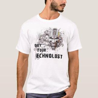 """""""あなたのTechnolust""""にサイバーのハッカーのマスク従って下さい Tシャツ"""