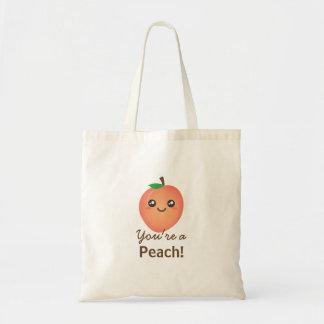 あなたはモモの甘いかわいいのかわいくおもしろいなグルメ トートバッグ